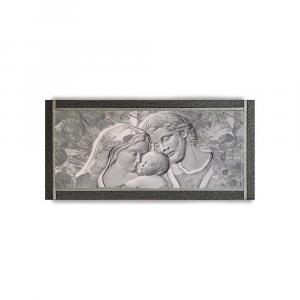 Quadro Ariel ecopelle nera capezzale 23 sacra famiglia canvas+argento 132x62cm