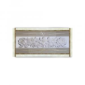 Quadro Ariel ecopelle crema disegno floreale 1 canvas+glitter oro nero 132x62cm