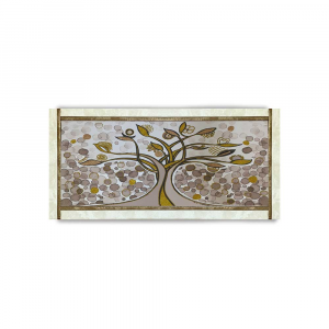 Quadro Ariel ecopelle crema albero della vita 26 canvas+glitter oro rame 132x62