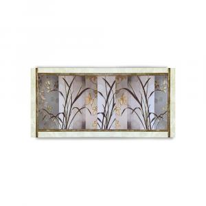 Quadro Ariel ecopelle crema floreale 29 canvas+ glitter oro 132x62cm artigianale