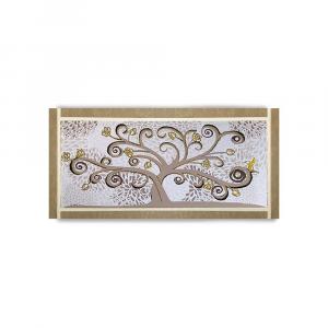 Quadro Ariel ecopelle beige albero della vita 24 canvas+glitter oro 132x62cm