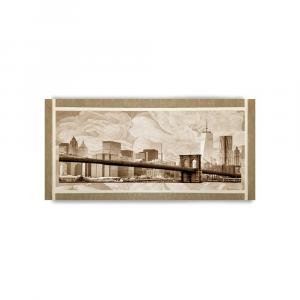 Quadro Ariel ecopelle beige metropoli 4 canvas+glitter oro 132x62cm artigianale