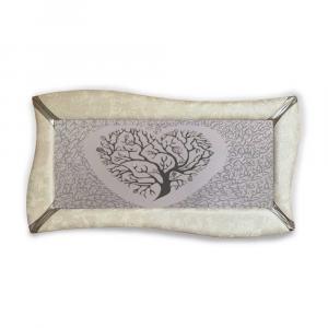 Quadro betti ecopelle crema albero della vita 15 canvas+glitter argento 148x78cm