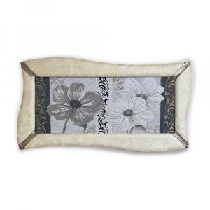 Quadro betti ecopelle crema floreale 18 canvas+glitter argento 148x78cm artig.
