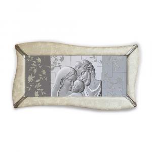 Quadro betti ecopelle crema capezzale sacra famiglia 1 glitter argentato 148x78