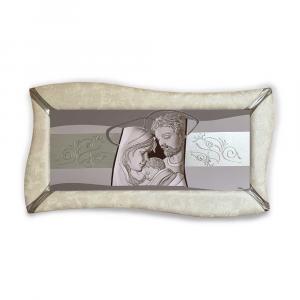 Quadro betti ecopelle crema capezzale sacra famiglia 7 argento a rilievo 148x78