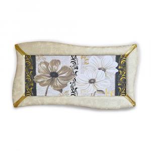 Quadro betti ecopelle crema floreale 18 glitter dorato 148x78cm artigianale