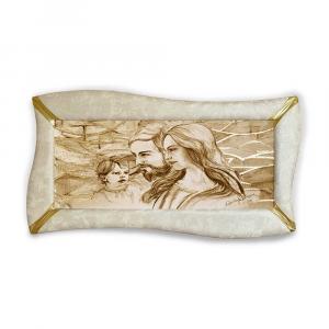 Quadro betti ecopelle crema capezzale sacra famiglia 19 glitter oro 148x78cm