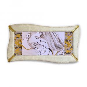 Quadro betti ecopelle crema capezzale sacra famiglia 20 glitter oro 148x78cm