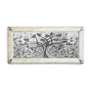 Quadro boreale ecopelle crema albero della vita 26 glitter argento 139x69cm
