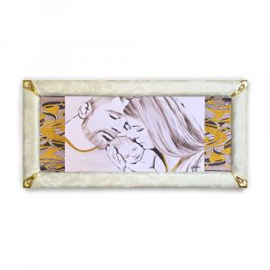 Quadro boreale ecopelle crema capezzale sacra famiglia 20 glitter oro 139x69cm