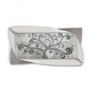 Quadro Glamour ecopelle legno bianco albero della vita 24 glitter argento 145x75