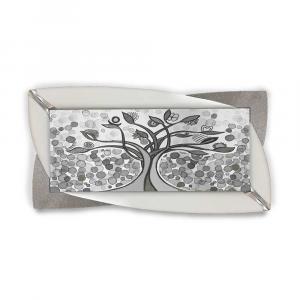 Quadro Glamour ecopelle legno bianco albero della vita 26 glitter argento 145x75