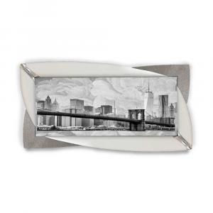 Quadro Glamour ecopelle legno bianco metropoli 4 glitter argento 145x75cm
