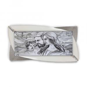 Quadro Glamour ecopelle legno bianco capezzale sacro 19 glitter argento 145x75cm