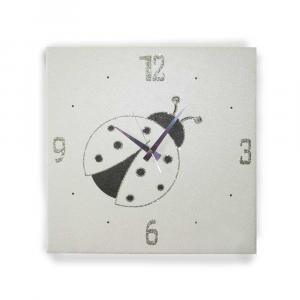 Orologio da muro Coccinella in ecopelle crema 57x57 cm stile contemporaneo