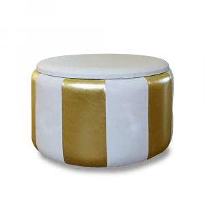 Pouf Beverly contenitore in ecopelle bianco oro diam 65x42cm lav artigianale