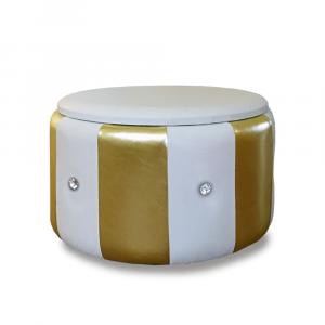 Pouf Beverly contenitore in ecopelle bianco oro diam 65x42cm con strass