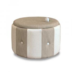 Pouf Beverly contenitore in ecopelle crema e beige diam 65x42cm con bottoni