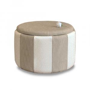 Pouf Beverly contenitore in ecopelle crema e beige diam 65x42cm lav artigianale