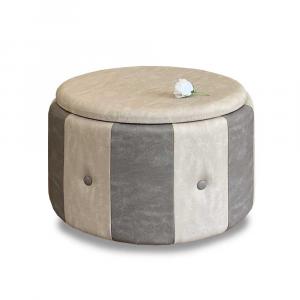 Pouf Beverly contenitore in ecopelle grigio e beige diam 65x42cm con bottoni