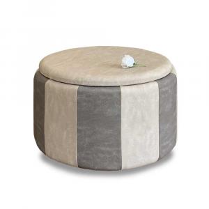 Pouf Beverly contenitore in ecopelle grigio e beige diam 65x42cm lav artigianale