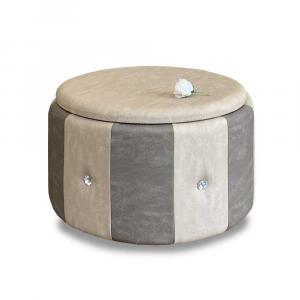Pouf Beverly contenitore in ecopelle grigio e beige diam 65x42cm con strass