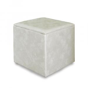Pouf contenitore 45 in ecopelle crema diam 45x50cm lavorazione artigianale