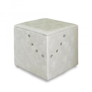 Pouf contenitore 45 in ecopelle crema diam 45x50cm lav. artigianale con strass