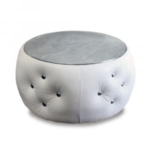 Pouf tavolino Tiffany in ecopelle bianca e argento diam 70x40cm lav. artigianale