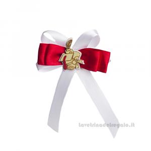 Fiocco chiudipacco Bianco e Rosso con Tocco in legno 9 cm - Decorazioni laurea