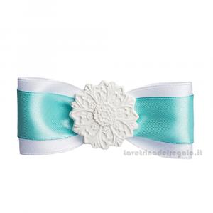 Fiocco chiudipacco Bianco e Tiffany con gessetto Maiolica 9 cm - Decorazioni matrimonio