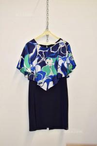 Vestito Donna Cheitt Blu Decorato Tg.44 Nuovo