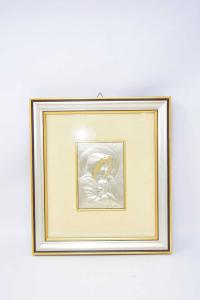 Quadretto Madonna Argentata 30x27 Cm