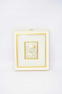 Quadretto Madonna Argentata Sfondo Bianco 20x18 Cm