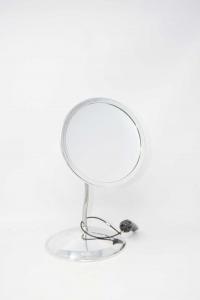 Specchio Da Scrivania In Ferro Blu Ceramica E Paglia Intrecciata 27 X 32 Cm M