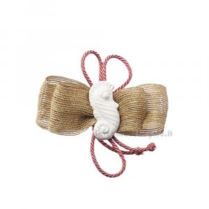 Fiocco chiudipacco in juta Linea Mare con gessetto cavalluccio marino 10 cm - Decorazioni matrimonio