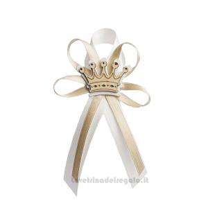 Fiocco chiudipacco Beige con Corona in legno 8 cm - Decorazioni battesimo