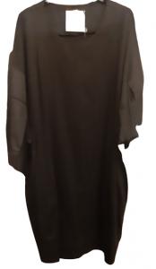 Abito donna   in maglia di cotone nero   manica 3/4   Made in Italy