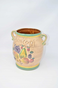 Vaso In Ceramica Smaltata Rumtopf Con Frutta 16 X 24 Cm Altezza