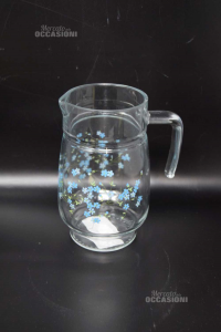 Brocca In Vetro Fiorellini Azzurro Altezza 20 Cm