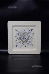 Piatto Deruta In Ceramica Quadrato 31 X 31 Cm