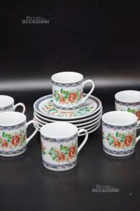6 Tazze Gerard In Ceramica Fantasia Floreale + Piattini