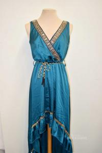 Vestito Donna Nuna Lie Color Petrolio Senza Cintura Con Decorazioni Dorate Tg.M