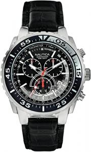 Orologio cronografo uomo Nautica con cinturino in pelle nero A14678G