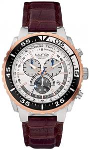 Orologio cronografo uomo Nautica con cinturino in pelle marrone A14680G