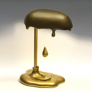 Lampada Led da tavolo Magma in resina oro lucido decorata a mano Made in Italy
