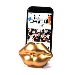 Porta telefono cellulare Mae-West resina oro lucida 100% fatto a mano in Italia