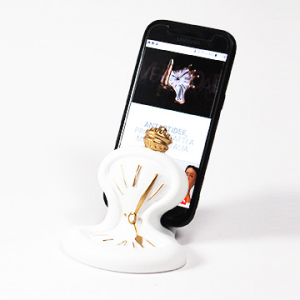 Porta telefono cellulare Orologio da tavolo resina bianca opaca Made in Italy