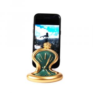 Porta telefono cellulare Orologio da tavolo resina oro verde opaca Made in Italy